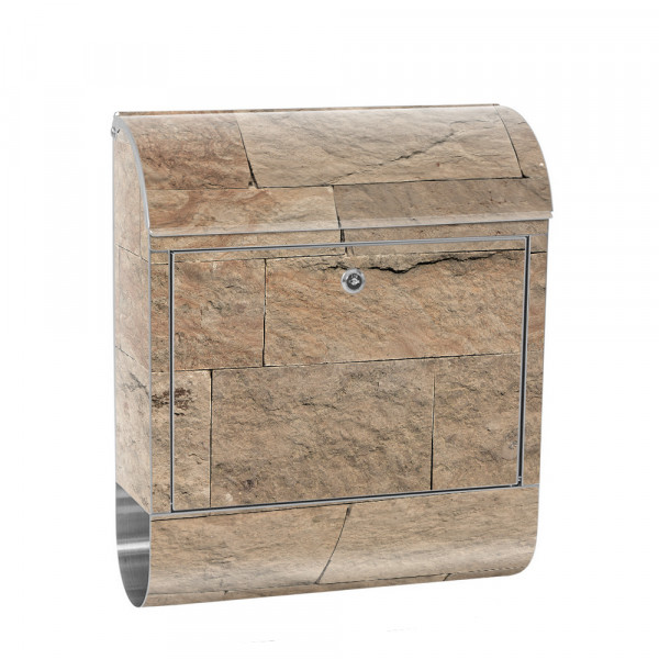 Stainless Steel Letterbox with Newspaper roll & Motif Sandstone stone Brown | No. 4304