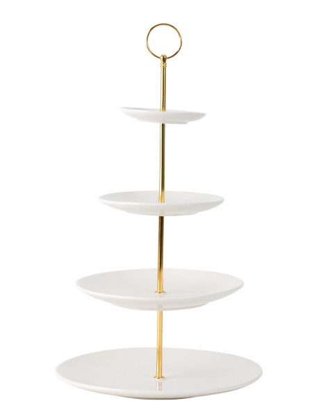 Etagere Pastry Bowl Fruit Bowl Made of Porcelain with 4 Levels and Handle Gold Height 35 cm