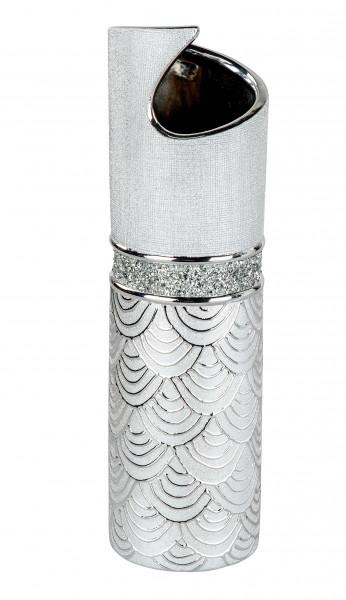 Modern deco vase flower vase Table vase ceramic vase silver glossy and matte height 40 cm