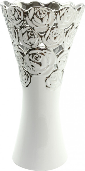 Beautiful Dekovase flower vase with rose pattern ceramic white / silver height 34 cm