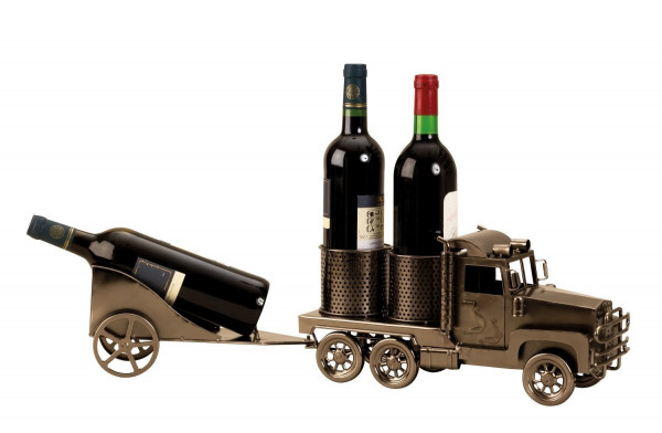Modern wine bottle holder Bottle stand truck with trailer for 3 bottles length 66 cm