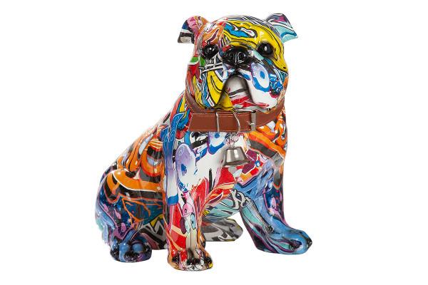 Moderne Skulptur Dekofigur Mops Hund POP ART aus Kunststein Mehrfarbig 22x23 cm