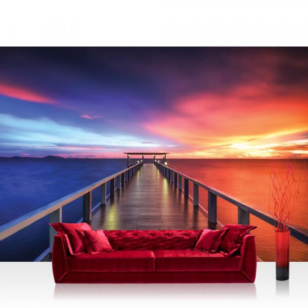 Vlies Fototapete Meer Tapete Sonnenuntergang Steg Meer Holz Lichter Wasser Himmel Sonnenaufgang