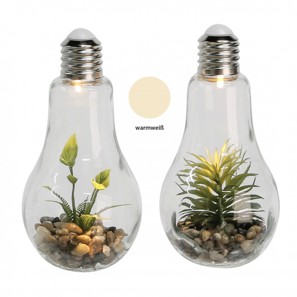 Modern and exclusive decorative light glass bulb incl. Flower decoration height 22 cm * 1 piece *
