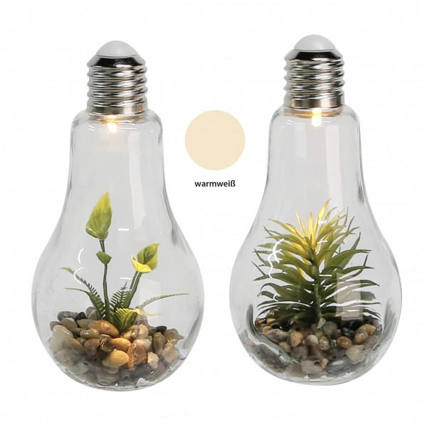 Moderne und exklusive Dekoleuchte Glühbirne aus Glas inkl. Blumendekoration Höhe 22 cm *1 Stück*
