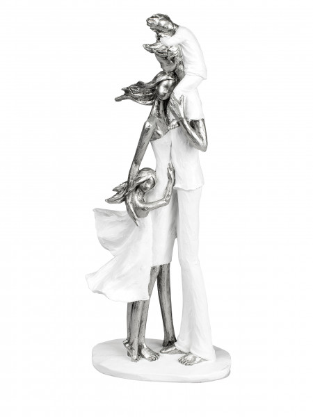 Modern Sculpture Decoration Figure bust Family on Pedestal White-/silver Height 37 cm Wide 16 cm