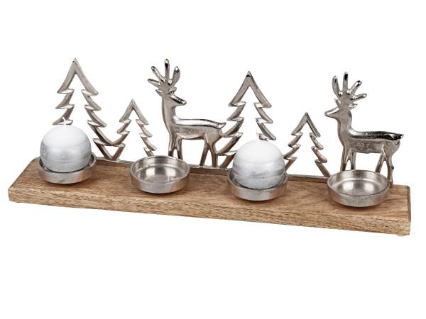 Moderner Tischleuchter im Set mit 4 Kerzenhaltern Teelichthalter Rentier Weihnachten aus massivem Ma