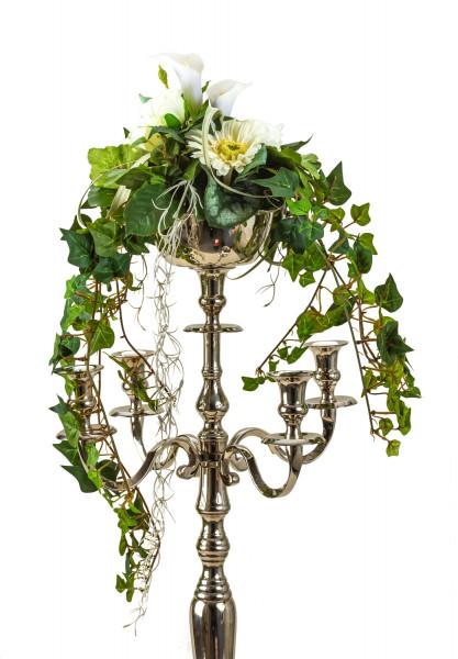 Modern flower bowl made of metal silver diameter 16 cm for candlesticks Wedding candlestick