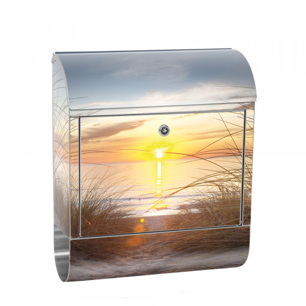 Stainless Steel Letterbox with Newspaper roll & Motif sun summer sea | No. 0074