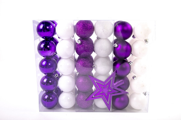 Large Christmas Baubles Set 61 pieces Ø 6 cm White / Purple including star lace Christmas tree decorations