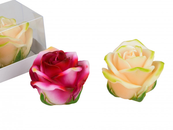 Beautiful Set Of Wind Light Candles in the Form of Roses beige and pink in 2 pack height 7 cm