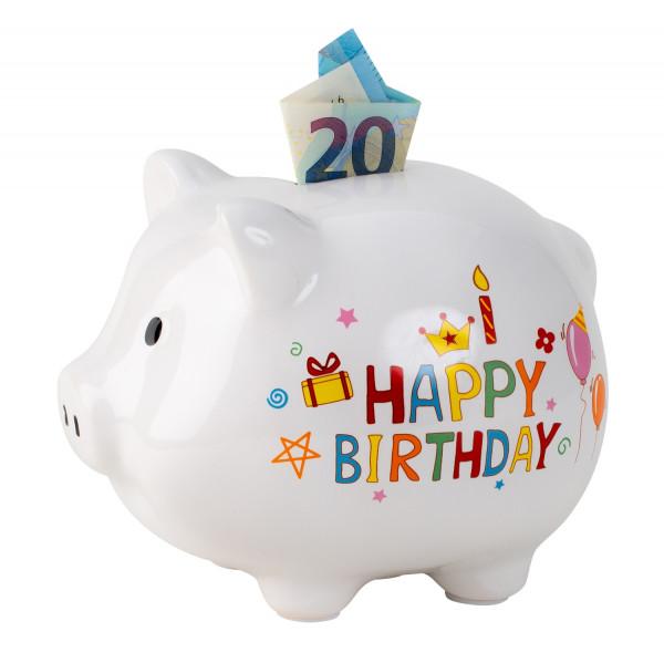 Sparschwein Spardose lustiges Schwein Happy Birthday aus Keramik weiß 18x14 cm