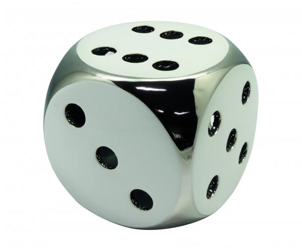 Sculpture Dekofigur cube 'Lucky Dice' ceramic white / silver 15x15x15 cm