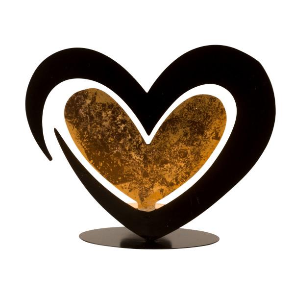 Moderner Teelichthalter Teelichtleuchter im Herz Design aus Metall schwarz Höhe 17 cm Breite 21 cm