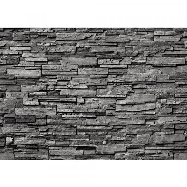 Vlies Fototapete Noble Stone Wall - anthrazit - anreihbar Steinwand Tapete Steinoptik Stein Wand