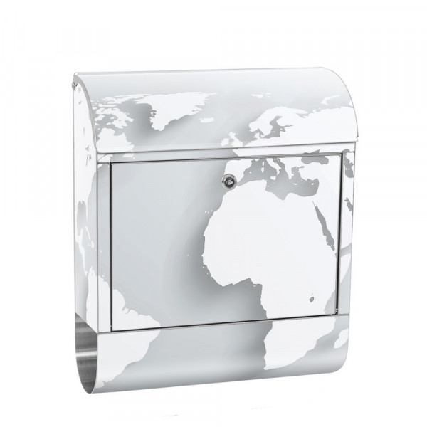 Stainless Steel Letterbox with Newspaper roll & Motif World map Atlas 3D | No. 0215