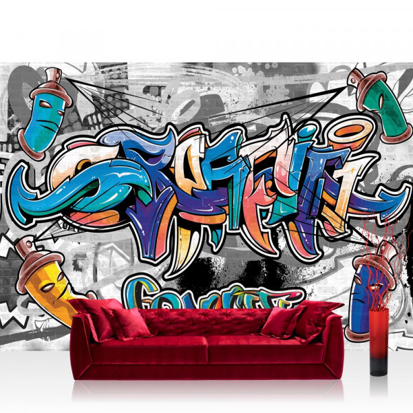 Vlies Fototapete Graffiti Tapete Kindertapete Graffiti Dosen Schriftzug bunt