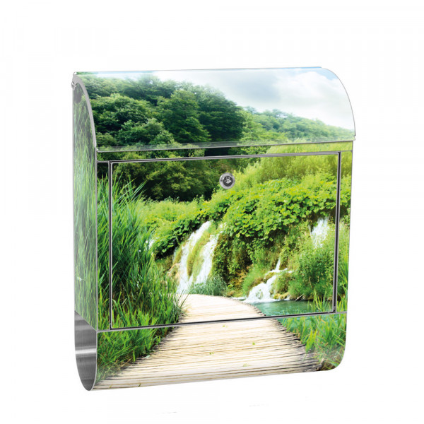 Stainless Steel Letterbox with Newspaper roll & Motif Wood Nature Landscape | No. 0093