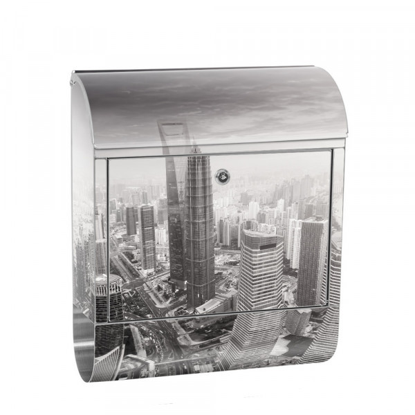 Stainless Steel Letterbox with Newspaper roll & Motif Skyline Shangha | No. 0049