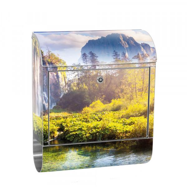 Edelstahlbriefkasten mit Zeitungsrolle & Motiv Wasser Sonne Bäume | no. 0260