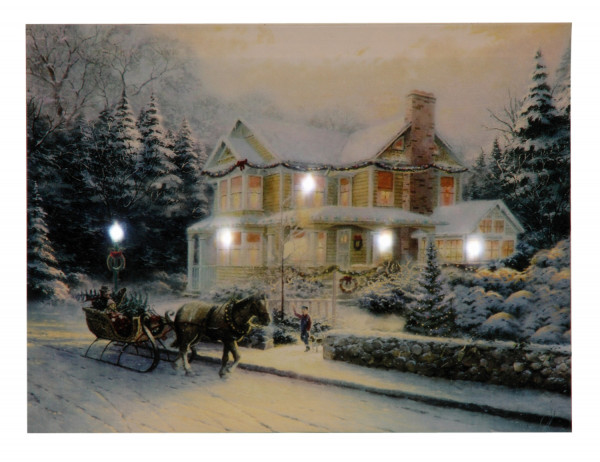 Weihnachtsbild Winterhaus inklusive LED Beleuchtung 30x40 cm
