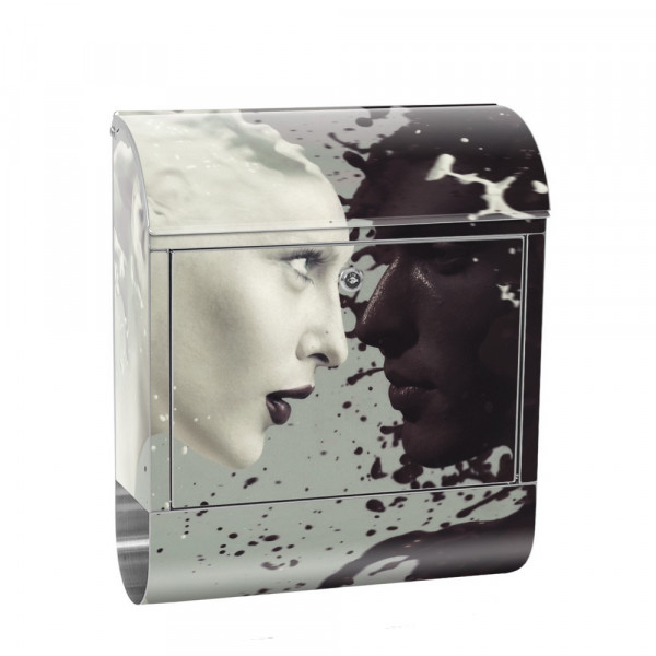 Stainless Steel Letterbox with Newspaper roll & Motif erotic black and White | No. 0016