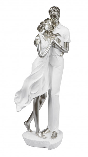Modern Sculpture Decoration Figure Loved-up Pair on Pedestal white-/silver Height 33 cm