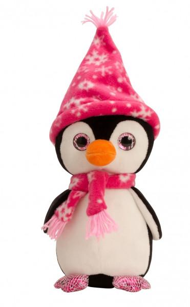 Kuschelig weicher Pinguin mit Mütze und Schal pink Höhe 27 cm samtig weiches Kuscheltier