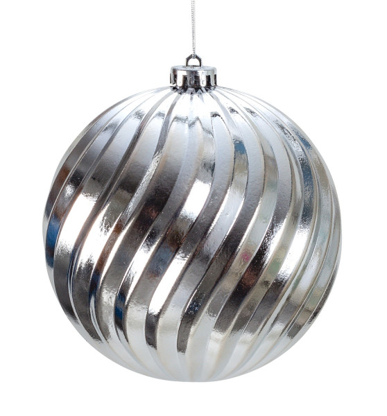 Large Christmas Baubles Baubles SET with 4 pieces color silver shiny diameter 15 cm