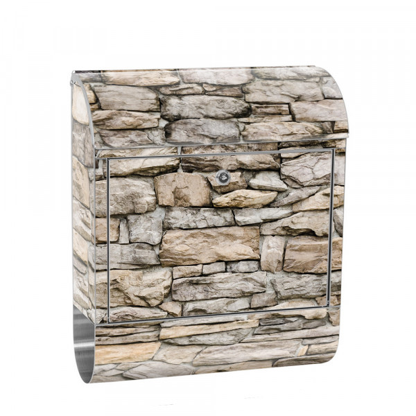 Stainless Steel Letterbox with Newspaper roll & Motif stone Stone Optic Wall | No. 0166