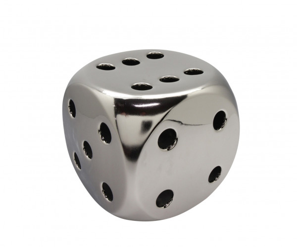 Sculpture Deco-figure cube 'Lucky Dice' made of ceramic matt silver 9,5x9,5 cm