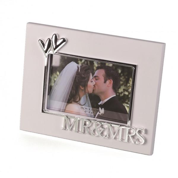 Modern Photo Picture Frame Wedding photo frame aluminium white/silver 10x15 cm