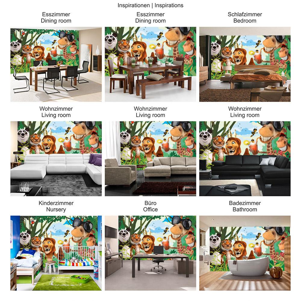 Vlies Fototapete Jungle Animals Party II Kindertapete Tapete Kinderzimmer  Zoo Tiere Safari Comic