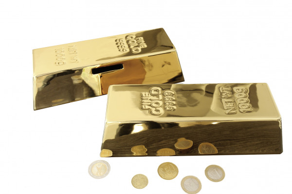 Modern money box money box gold bars of ceramic length 21 cm width 5.5 cm height 8.5 cm