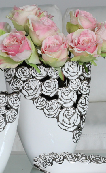 Beautiful Dekovase flower vase with rose pattern ceramic white / silver height 22 cm width 18 cm