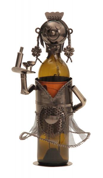 Moderner Wein Flaschenhalter Flaschenständer Kellnerin aus Metall in silber Höhe 32 cm