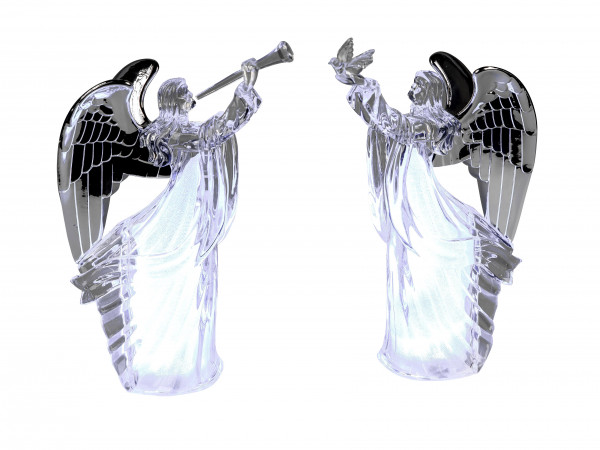 Beautiful angel sculpture LED lighting with silver wings made of acrylic height 26 cm