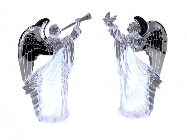 Wunderschöne Engel Skulptur LED Beleuchtung mit silbernen Flügeln Weihnachten Weihnachtsdekoration a