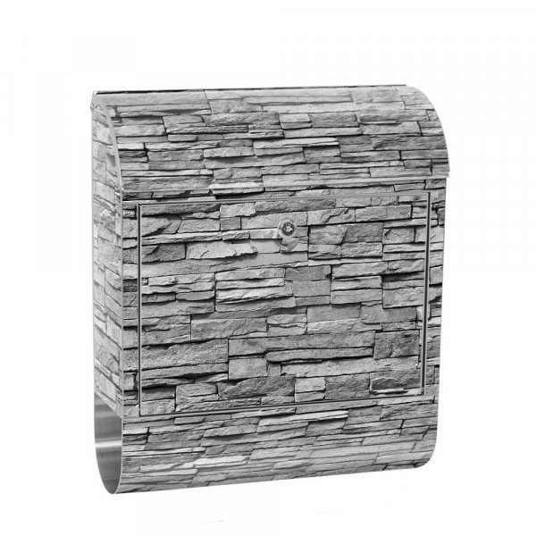 Stainless Steel Letterbox with Newspaper roll & Motif stone wall Stone Optics | No. 0138