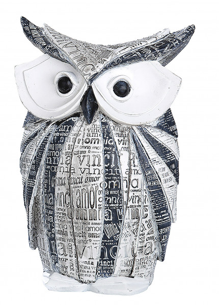 Modern sculpture deco figurine owl made of artificial stone white and gray Height 23 cm Width 16 cm