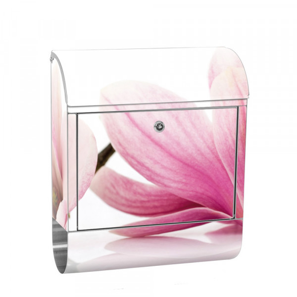 Stainless Steel Letterbox with Newspaper roll & Motif Orchid Flower plant | No. 0202