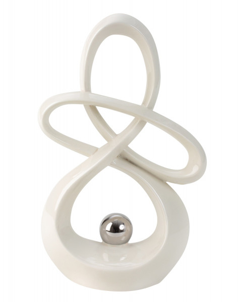 Modern sculpture ceramic decoration white with silver ball height 30 cm