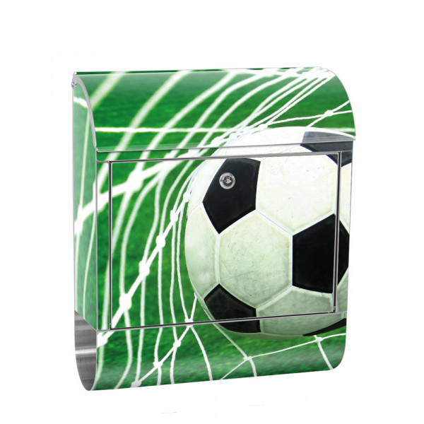 Stainless Steel Letterbox with Newspaper roll & Motif football Net Meadow | No. 0272
