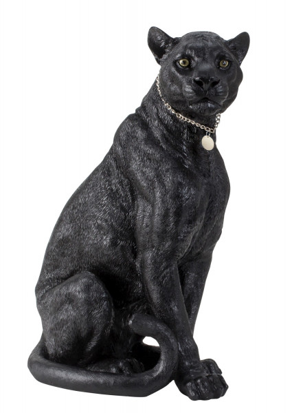 Huge sculpture Deco figure black panther made of artificial stone with silver pendant 35x53 cm