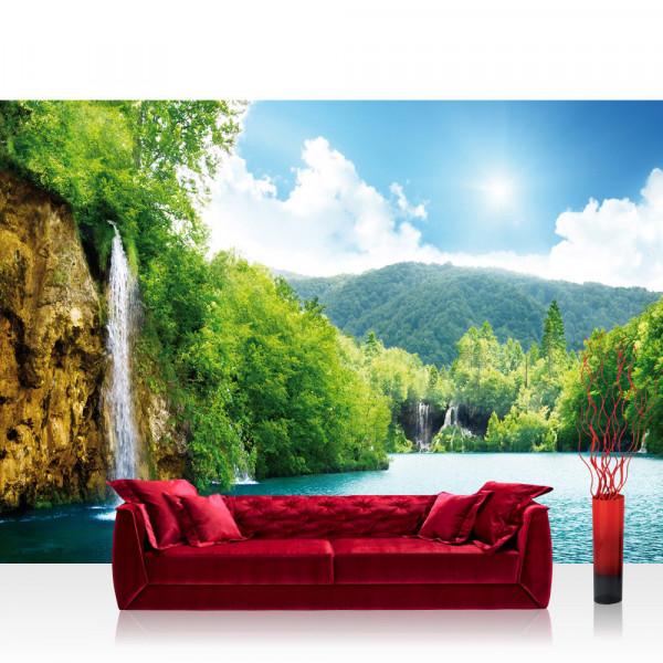 Vlies Fototapete Wasser Tapete Wasserfall Bäume Meer Wasser Himmel Sommer Urlaub blau