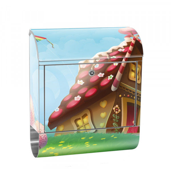 Stainless Steel Letterbox with Newspaper roll & Motif children's Fairy tale fairy | No. 0113
