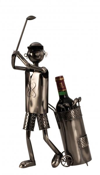Moderner Wein Flaschenhalter Flaschenständer Golfspieler aus Metall in silber Höhe 53 cm