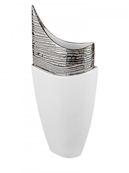 Moderne Deko Vase Blumenvase Bodenvase aus Keramik weiß/silber glänzend Höhe 64 cm