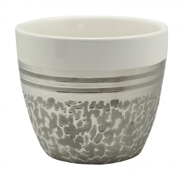Planter planter Vase for flowers made of ceramic in the color white and silver 14x14x12 cm