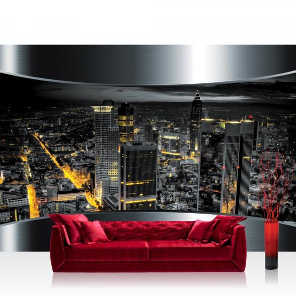 Vlies Fototapete Skylines Tapete Stadt Panorama Tower Lightning Rahmen schwarz